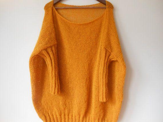 Maxi Plus Size Hand stricken Pullover Tunika lose Damen Pullover stricken Senf gelb