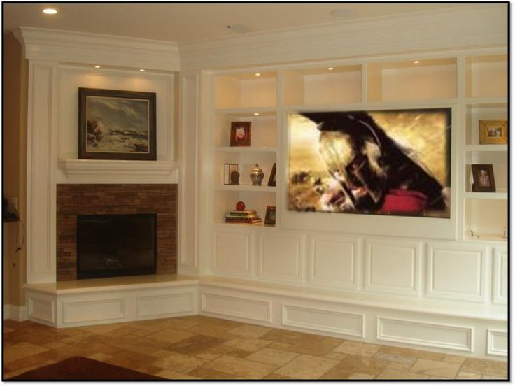 Adorable White Finished Built In Fireplace Entertainment Center Cabinetry As Well Open Shelf Storage Modern Media Room Decorating Designs