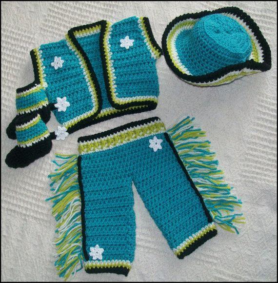Crochet Cowboy Pattern - Crochet Cowboy Set - Cowboy Boot Pattern - Cowboy Pants - Crochet Cowboy Hats - Baby Clothing - Crochet patterns - pinned by pin4etsy.com