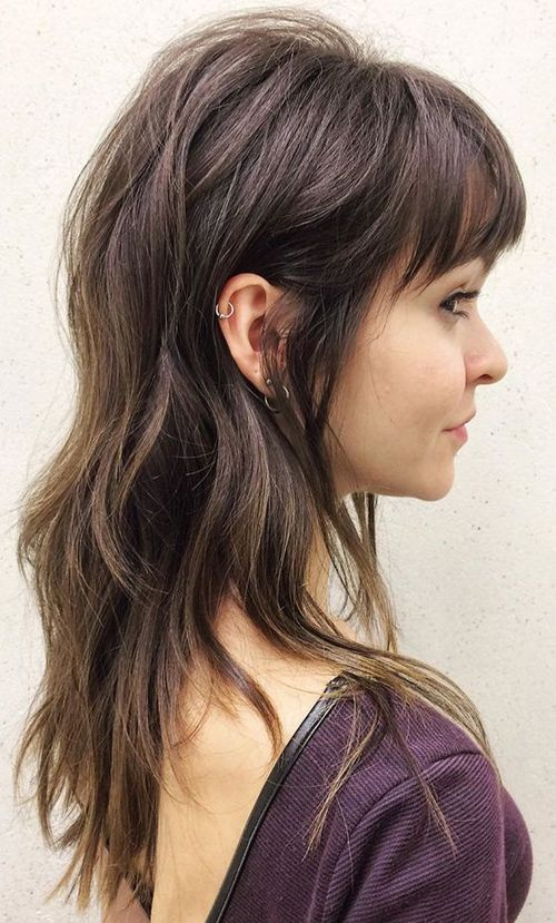 devastatingly cool full fringe long hairstyles for women to show off in 2019 shoulder length haircut long hair styles hair cuts layered hair