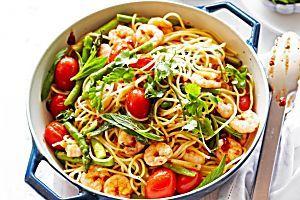 Spaghetti with prawns, fresh tomato, garlic and parsley Recipe - Taste.com.au Mobile