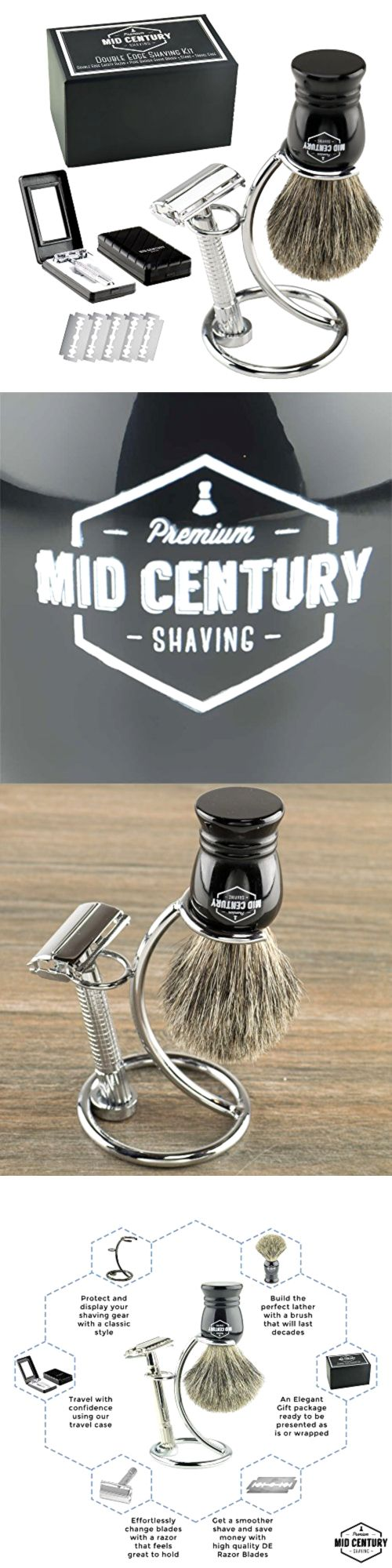 Shaving and Grooming Kits and Sets: Safety Razor Shaving Kit Double Edge Razor Pure Badger Brush Complete Set, New -> BUY IT NOW ONLY: $55.18 on eBay!
