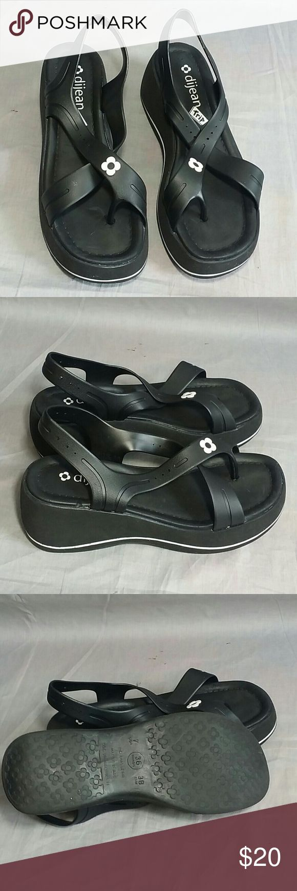 Dijean trip Sandals Black Size 7 M Ankle strap Item is in a good condition, NO PETS AND SMOKE FREE. dijean Shoes Sandals