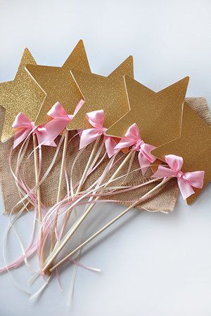 Star Wands are perfect for adding a little sparkle to your Pink and Gold Party, Princess Party or Fairy Party! They will make your little one want to dance and play. They are also perfect for creating a sparkly star centerpiece perfect for a Twinkle Twinkle Little Star baby shower!