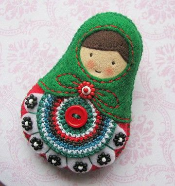 Matryoshka Doll Felt Softie, Folk, Polish design, polski dizajn, polskie wzornictwo, made in Poland. Pinned by #AdrianWerner