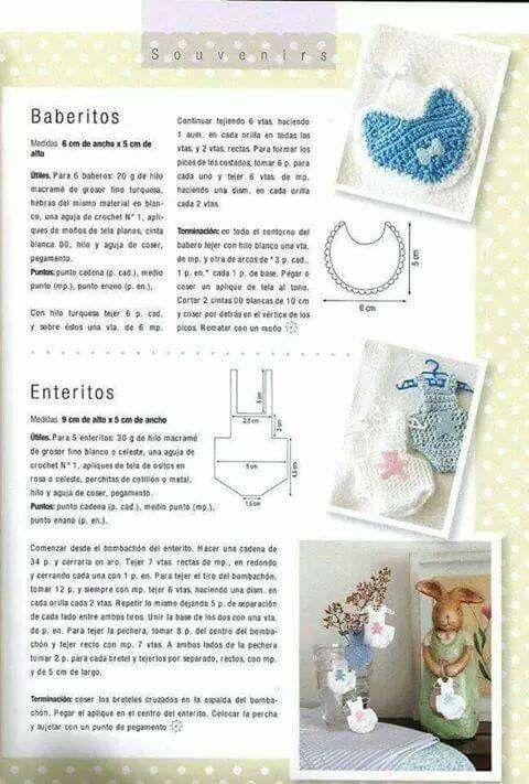 Souvenir baberos y enteritos | SOUVENIRS | Pinterest | Crochet ...