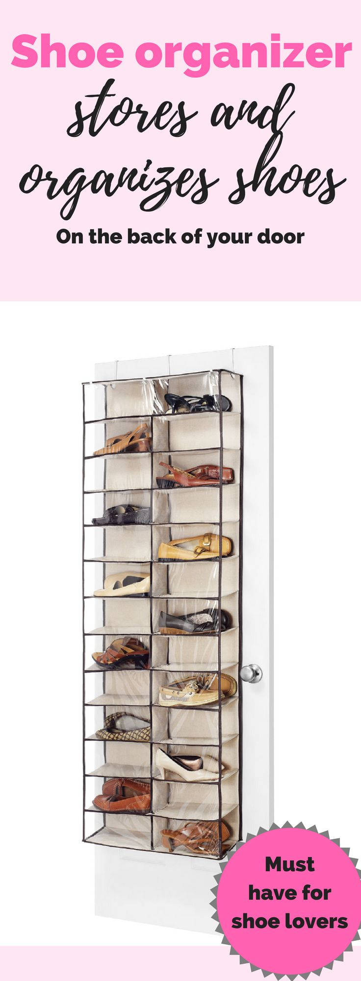 Organize your shoes easily and cheap with an shoe organizer hanging on the door | shoe organizer | shoe storage | shoe storage idea | (Affiliatelink - I will earn a small commission if you purchase through this link)
