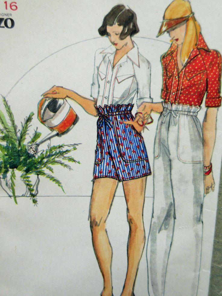 vintage butterick 3658 sewing pattern  kenzo design  1970s sewing pattern  shirt pattern  paper