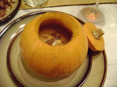 Pumpkin Soup with Blue Cheese and Bacon. Halloween. Thanksgiving ...