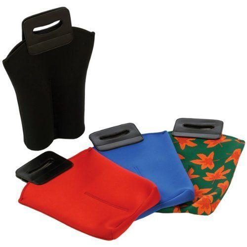 """Pack of 2 Neoprene Double Wine Bottle/Beverage Bags - Leaf Print by CC Home Furnishings. $29.99. Pack of 2 Double Wine Bottle HoldersItem #PSM-124LFColor: Leaf PrintNeoprene maintains beverage temperatureDivider to separate bottlesStrong fitted carry handle with hook & loop closureDimensions of each holder: 11.5""""W x 1""""D x 17""""HPlease Note: This ad is for 2 leaf print bags ONLY, other colors are NOT includedPack includes 2 leaf print bags"""