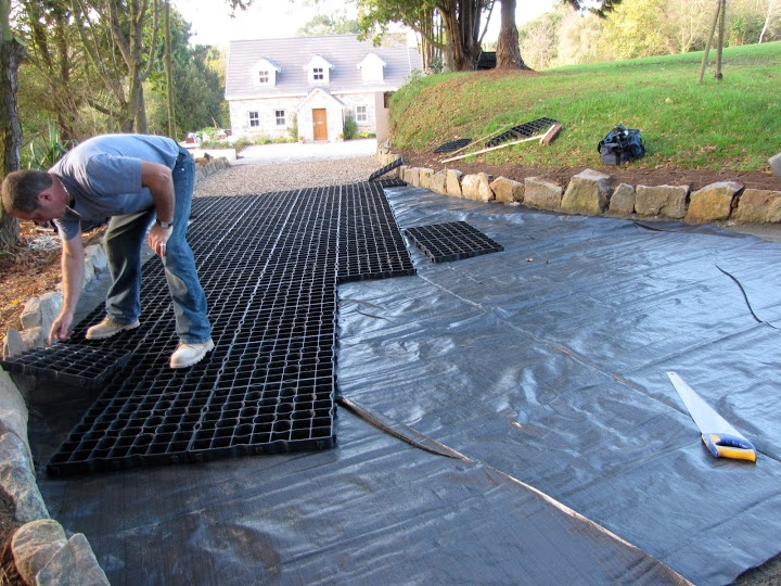 Surface membrane prevents weeds and unwanted plant growth ruining your gravel driveway http://www.gridforce.co.uk/ground-reinforcement-uses/driveways.html