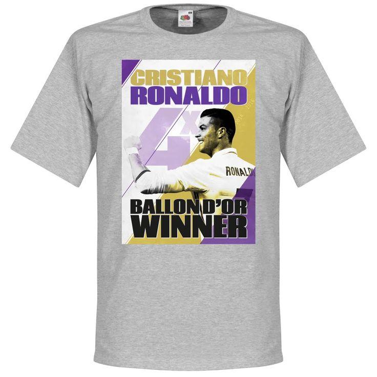 Ronaldo 4 Times Ballon d'Or Winnaar Real Madrid T-Shirt - XXL