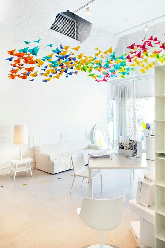 Ceiling decoration idea for all your leftover cranes, Ms. Doll! ;)