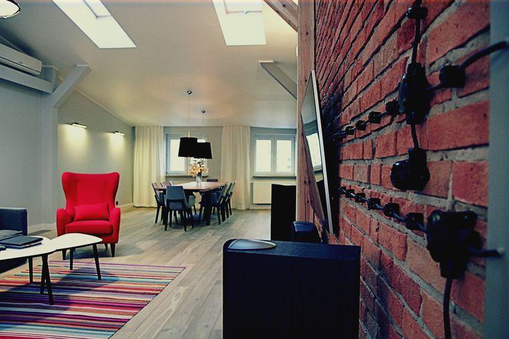 Loft living room.  Warsaw, Poland.  www.artandarchitecture.pl