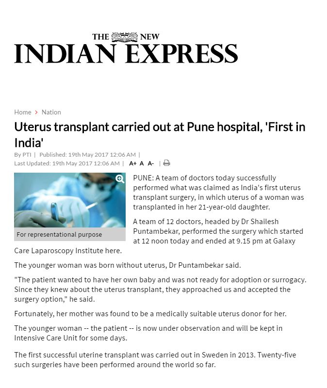 Uterus transplant carried out at Pune hospital, 'First in India'
