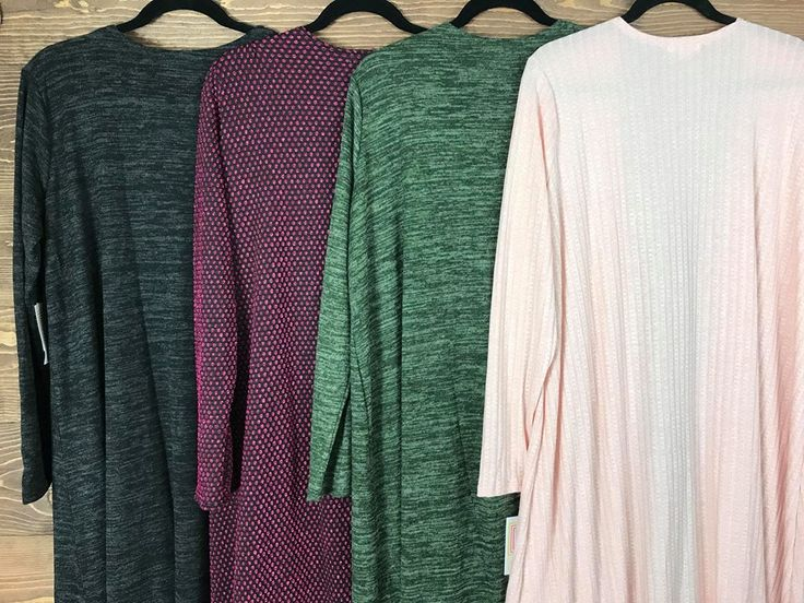 I have so many gorgeous solid Sarahs (oh and that mermaid sarah is 🔥)... is it bad that I want to keep them all?! 😂 I won't of course, but y'all better snatch them up quickly before I change my mind!   These are all size large!  Left is a dark charcoal fleece sweater material 😍 Second is a mermaid Sarah . Third is an army green fleece sweater material.  Last is a pale pink ribbed that is super stretchy and so insanely soft! https://www.facebook.com/groups/lularoealyssarichardson/