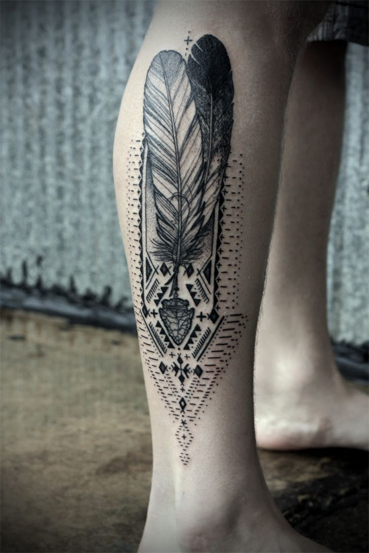David Hale  Feather Leg Tattoo