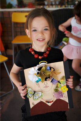 This young lady attended a Frida Kahlo birthday party and made her own unique version of Frida by collaging reclaimed yarn, fabric, satin fl...