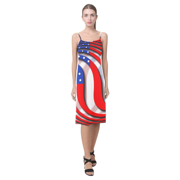Flag of United States of America Alcestis Slip Dress (Model D05)