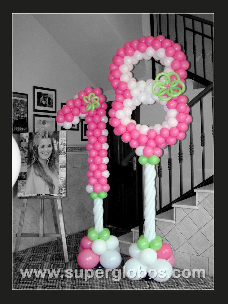 NÚMEROS CON GLOBOS (BALLOONS NUMBERS): Balloon Decor, Age Balloon, Balloon Ideas, Balloon Arches, Balloon Numbers, Balloon Scene, Balloon Artístico, Balloon Columns, Balloon S Fac Paintings