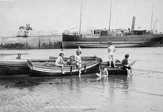1893 Newlyn harbour with young boys bathing - Collections - Penlee House Gallery and Museum Penzance Cornwall UK