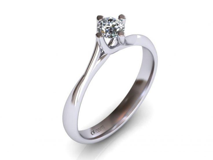 Inel de logodna ATCOM Lux cu diamant DELPHINUS aur alb
