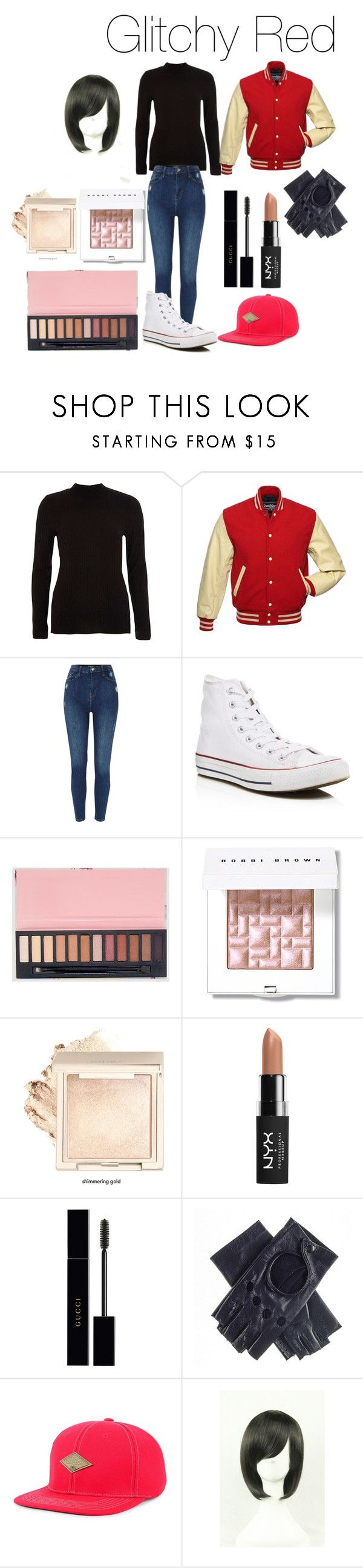 """Glitchy Red (Creepypasta)"" by tori-camilleri on Polyvore featuring River Island, Converse, Bobbi Brown Cosmetics, NYX, Gucci, Black, Top of the World and WithChic"