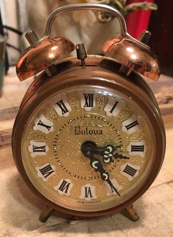Vintage Bulova Copper Alarm Clock For Parts Or Repair Made ...