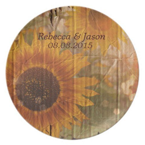 rustic cardboard country sunflower wedding dinner plate