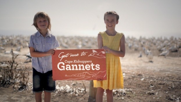 """What a couple of gorgeous kids enjoying the gannets - not far from Te Mata Park. A promotional pic from the """"Get me to Hawke's Bay"""" campaign."""