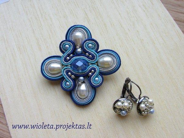 Soutache brooch and earrings