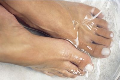 Helps with foot fungus. Spray a 50/50 mixture of hydrogen peroxide and water on them (especially the toes) every night and let dry. Or try soaking your feet in a peroxide solution to help soften calluses and corns, and disinfect minor cuts.
