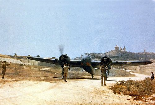 a 272 Coastal Command Sqn. Beaufighter being moved at Luqa, near Valetta, Malta.