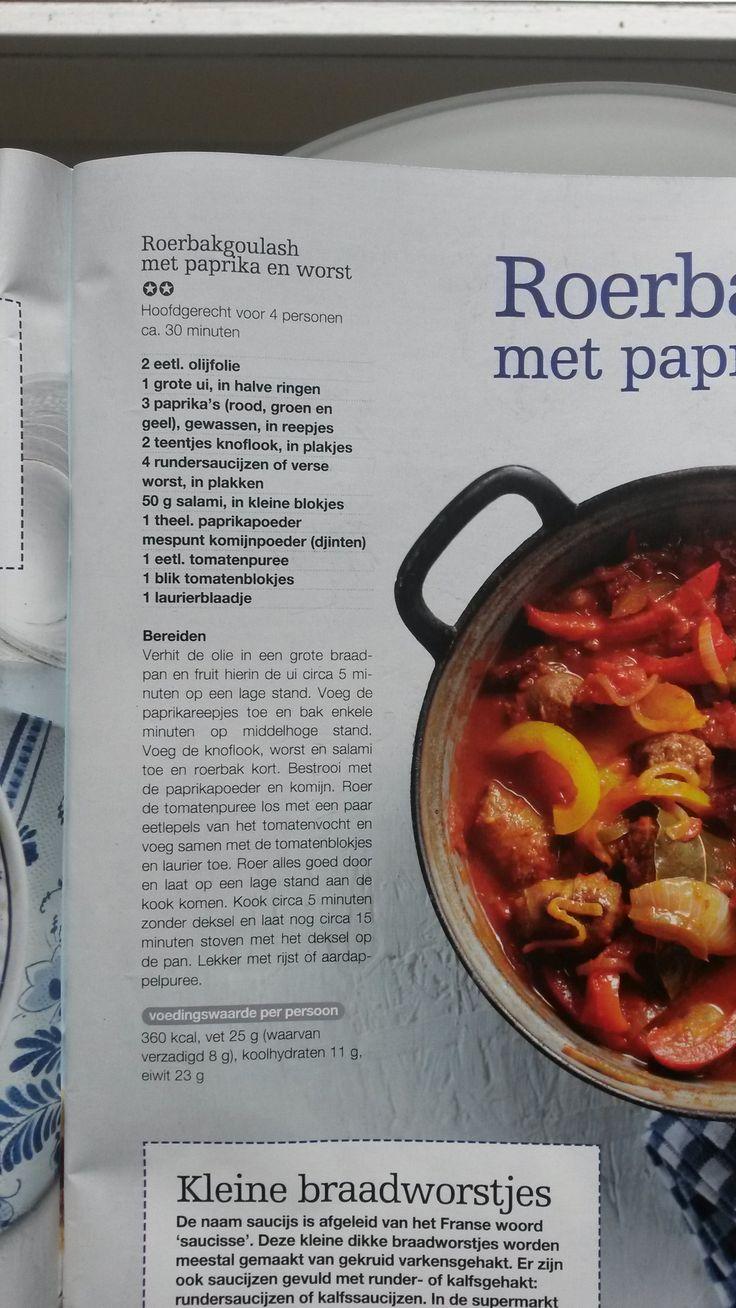 Roerbakgoulash met paprika en worst