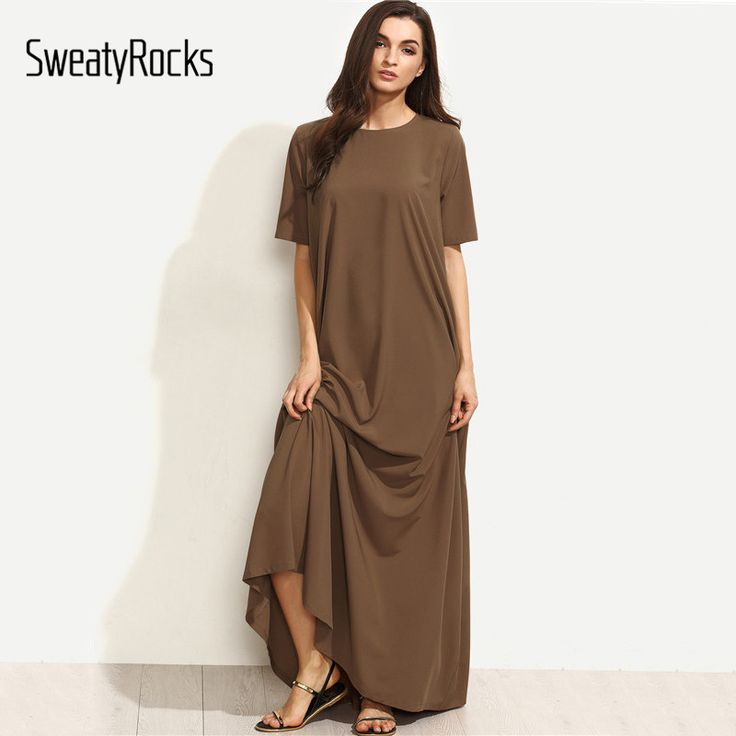 Buy  SweatyRocks Summer Casual Long Dresses For Woman Plain Brown Crew Neck Short Sleeve Zipper Back Loose Shift Maxi Dress .....Please Click Link To Check Price