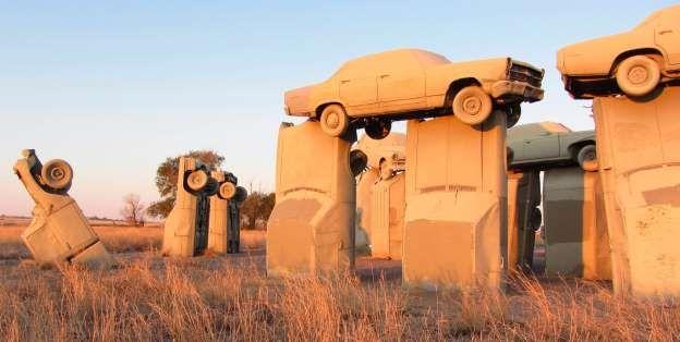 CARHENGE - NEBRASKA, UNITED STATES Carhenge, built by Jim Reinders in Nebraska's Sandhills area, riffs on England's Stonehenge - using vintage American cars rather than monolithic stones.
