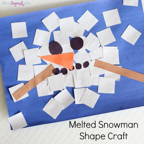 Melted snowman shape craft. A fun collage activity for toddlers and preschoolers!
