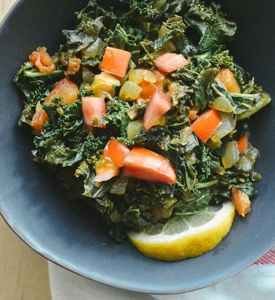 Yesterday Cambria shared a family recipe for African peanut stew, a celebratory dish made with beef, spices, and rich peanut butter. The classic side dish for this meal — and indeed, nearly any meal throughout much of eastern Africa — is sukuma wiki, braised greens with a very apt meaning to their name! Do you know what sukuma wiki means?