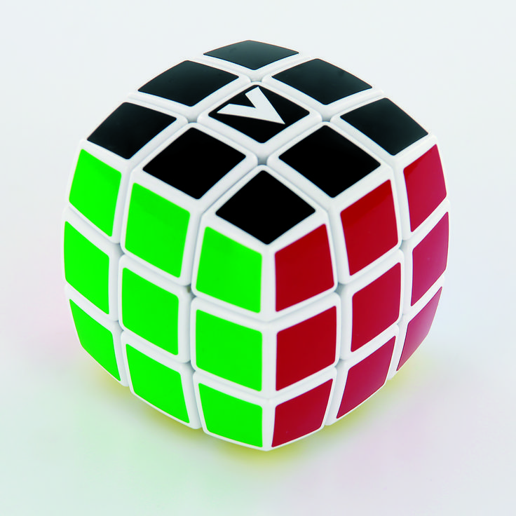 V-Cube 3 Layers Pillow 3x3x3 - rotational Cube Twisty Puzzle Game! BAY  the essential pillow-shaped version in WHITE! V-CUBE 3™ is a multicored, three-layered cube with exceptional quality and incredibly smooth rotation. The player is required to discover a strategy to achieve uniform colored sides on  V-CUBE 3™. V-CUBE 3™ weights only 98g! It consists of 26 smaller pieces, and the solid cross that supports them, enabling them to rotate independently on based axes.
