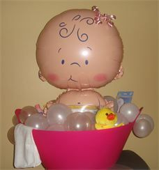 Baby Shower Balloons Long Island Baby Girl in Bathtub