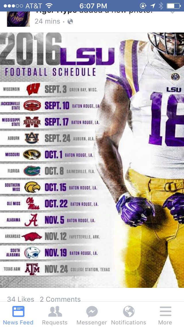 2016 LSU football schedule