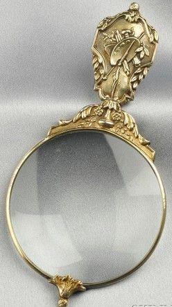 Увеличительное стекло; Art Nouveau, Brand-Chatillon розничный торговец, стерлингового серебра цветочные ручки, 5 дюймов.