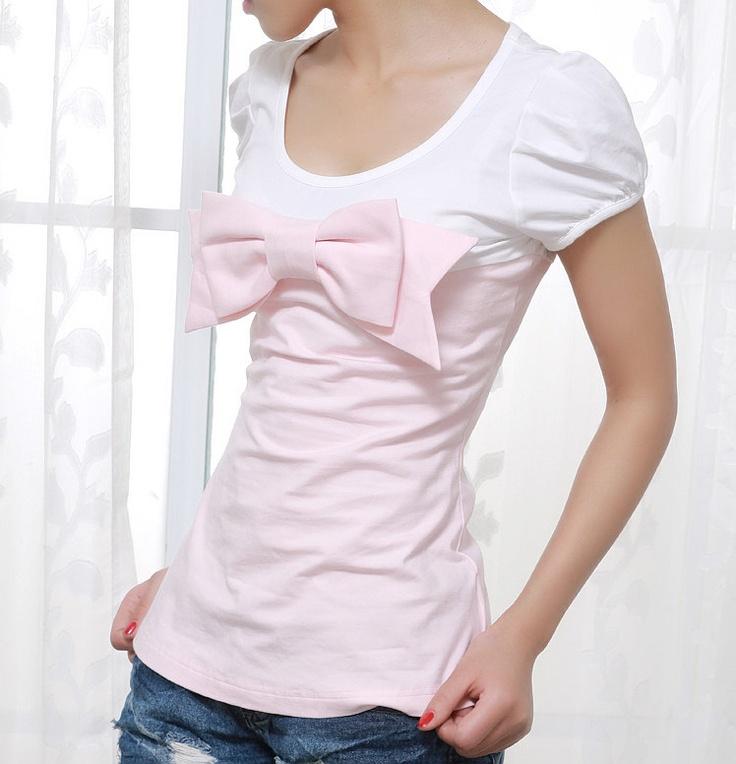 cotton tshirt (048). $39.00, via Etsy.: Cute Bows, Etsy, Tshirt 048, 39 00, Linens, Linen Dresses, Bow Cotton, Cotton Tshirt