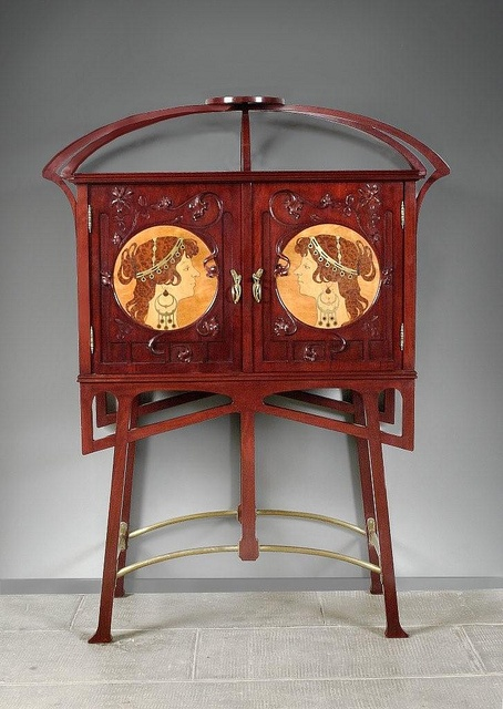 Joan Busquets i Jané (1874-1949) - Cabinet. Carved Mahogany with Light & Dark Fruit Wood Marquetry Inlays and Brass Hardware. Barcelona, Spain. Circa 1900.