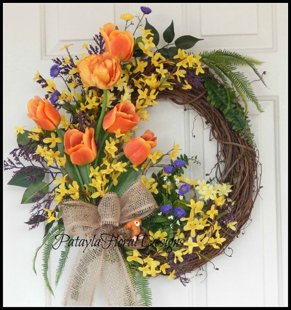 Easter Spring Wreath, Tulip Wreath, Forsythia Wreath with Purple,  Orange Tulip Wreath, Bird Nest Wreath, Grapevine Wreath, Door Wreaths