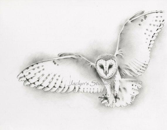 Impresión de Giclee de la lechuza de vuelo 8 por JaclynsStudio