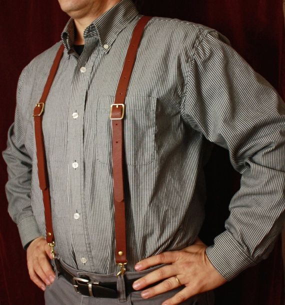 Steampunk Leather Suspenders - Y back- can cross in  X  in front Browncoat Brown, Oxblood, or Black Braces w/snap hooks from MyFunkyCamelot
