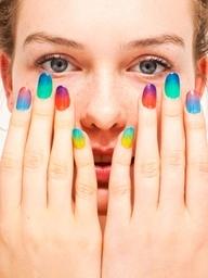 "American Apparel's new ""Sheer"" nail polish collection is great for mixing, matching and layering!: Nails Art, American Apparel, Americanapparel, Colors Nails, Summer Nails, Ties Dyes, Gradient Nails, Nails Polish, Rainbows Nails"