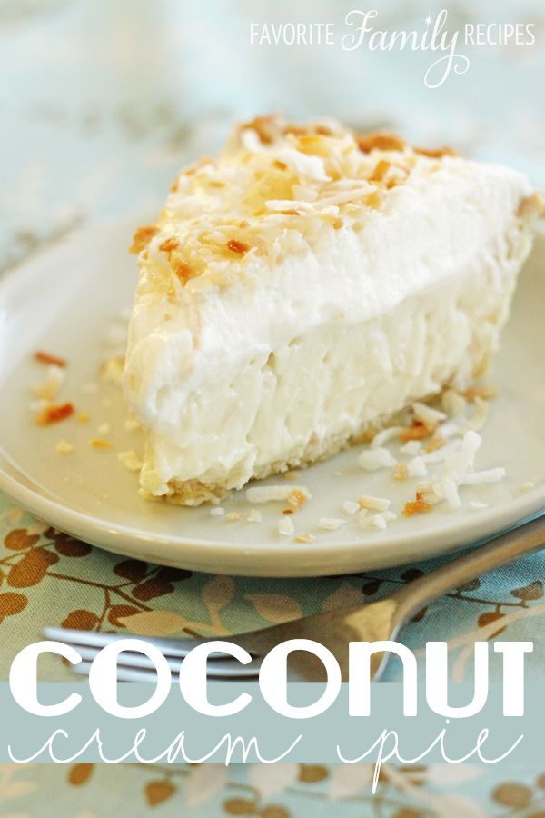 This is the best coconut cream pie EVER! I love making it all year round-- it is so good! Find all our yummy pins at https://www.pinterest.com/favfamilyrecipz/