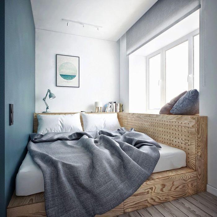 Стильное решение для очень маленькой спальни